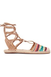 Schutz Kobi Lace Up Embroidered Suede Espadrilles Beige