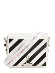 Off White Diag Printed Leather Shoulder Bag White