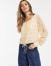 Y.A.S Square Neck Top In Floral Print White