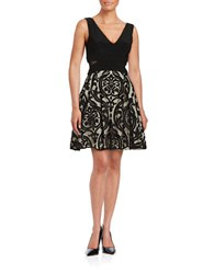 Xscape Evenings Mesh Accented Fit And Flare Dress Black Stone