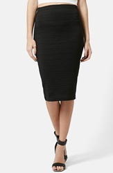 Topshop Graduated Rib Body Con Skirt Black