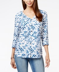 Jm Collection Petite Printed Linen Button Front Shirt Only At Macy's Tea Angles Blue