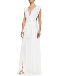 L'agence Deep V Tie Waist Gown