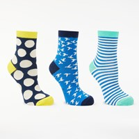 Boden Spot Stripe And Bird Print Ankle Socks Pack Of 3 Blue Multi