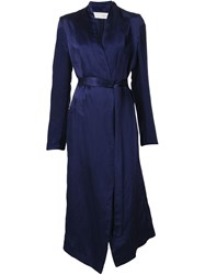 Isabel Benenato Long Belted Coat Blue