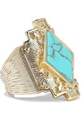 Noir Jewelry Woman Gold Tone Stone Ring Gold