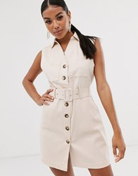 Na Kd Mini Sleeveless Utility Style Dress With Belt In Light Beige