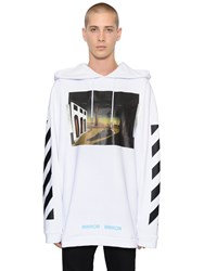 Off White Slver Chirico Hooded Cotton Sweatshirt