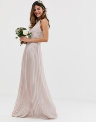 Tfnc Bridesmaid Exclusive High Neck Pleated Maxi Dress In Taupe Brown