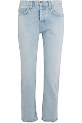 Current Elliott The Original Straight Cropped High Rise Jeans Light Denim