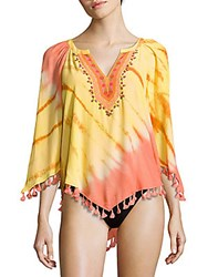 Hale Bob Fringed Cover Up Tunic Orange