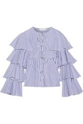 Caroline Constas Nina Ruffled Striped Cotton Oxford Jacket Blue