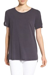 Pleione Women's Cold Shoulder Short Sleeve Tee Charcoal