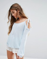Honey Punch One Sleeve Tie Up Bow Top Sky Blue