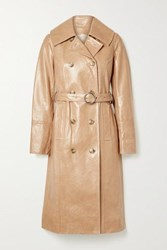 Yves Salomon Cracked Patent Leather Trench Coat Peach