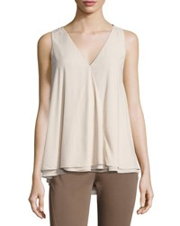 Brunello Cucinelli Silk Blend Sleeveless Blouse Cream