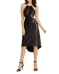 Halston Heritage Cutout Sequin Dress Matte Black Shiny Black