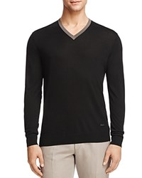 Armani Collezioni Mulberry Silk Tipped V Neck Sweater Black