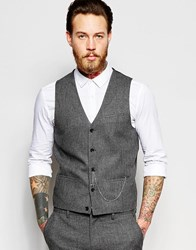 Asos Super Skinny Waistcoat In Dogstooth With Chain Grey