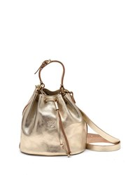 Il Bisonte Metallic Leather Drawstring Bucket Bag Champagne