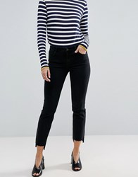 Asos Castile Pencil Straight Leg Jeans In Washed Black With Stepped Hem Black