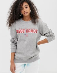 Daisy Street Boyfriend Sweatshirt With West Coast Print Grey