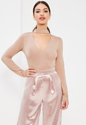 Missguided Tall Nude Choker Neck Plunge Bodysuit