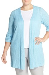 Plus Size Women's Eileen Fisher Organic Linen And Cotton Long Slim Cardigan Windflow