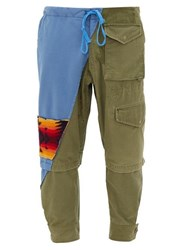 Greg Lauren Patchwork Canvas And Jersey Track Pants Green