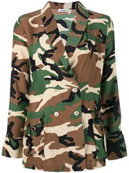 P.A.R.O.S.H. Double Breasted Jacket Women Silk L Green