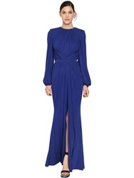 Alexander Mcqueen Long Draped Light Viscose Jersey Dress Blue