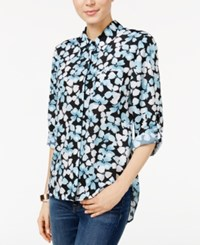 Tommy Hilfiger Printed Roll Tab Shirt Only At Macy's Porcelain Blue