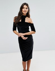Ax Paris Textured Velvet T Bar Neck Midi Dress Black