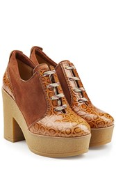 See By Chloe Leather And Suede Platform Clogs Camel