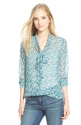 Women's Pleione Sheer Print Tie Neck Blouse Teal Abstract