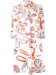 Peter Pilotto Printed Shirt Dress Women Cotton Spandex Elastane 8 White