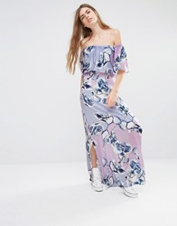 Every Cloud Patched Floral Off Shoulder Maxi Dress Multi Print