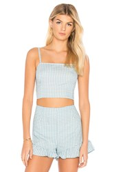 Minkpink Toto Gingham Top Baby Blue