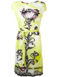 Versace Collection Floral Print Dress Yellow Orange