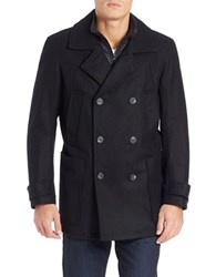 Andrew Marc New York Double Breasted Wool Blend Peacoat