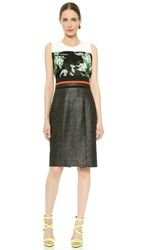 J. Mendel Mixed Texture Sheath Dress Ivoire Mint Noir