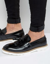 Asos Smart Loafers In Black Leather With Large Tassels Black