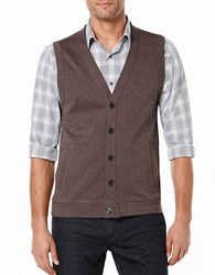 Perry Ellis Big And Tall Herringbone Sweater Vest Dark Brown