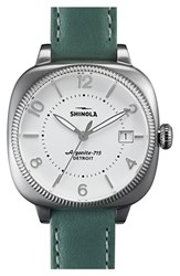 Women's Shinola 'Gomelsky' Square Leather Strap Watch 36Mm White Teal