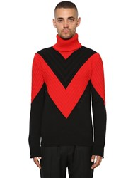 Givenchy Color Block Cotton Turtleneck Black Red
