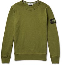 Stone Island Garment Dyed Loopback Cotton Jersey Sweatshirt Army Green