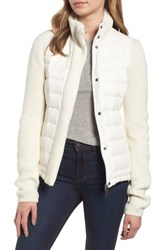 Marc New York Mark Packable Knit Trim Puffer Jacket Ivory Ivory