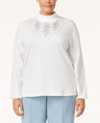 Alfred Dunner Plus Size Northern Lights Collection Embroidered Jacket White