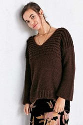 Ecote Marley Loop Stitch V Neck Sweater Brown