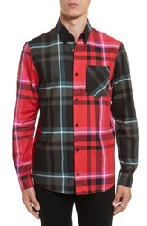 Versus By Versace Men's Plaid Woven Shirt Red Multi